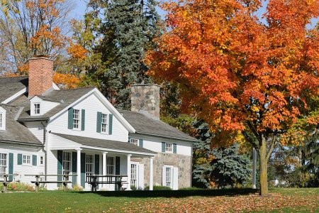 Beautiful country house in the fall